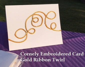 CORNELY EMBROIDERED Greeting Card Gold Ribbon Swirl