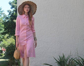 Pink Gingham Dress DIANE VON FURSTENBERG Vintage Button Up ShirtDress 80s Modern Classic Woman's Small Size Cotton Checked Print Shift Dress
