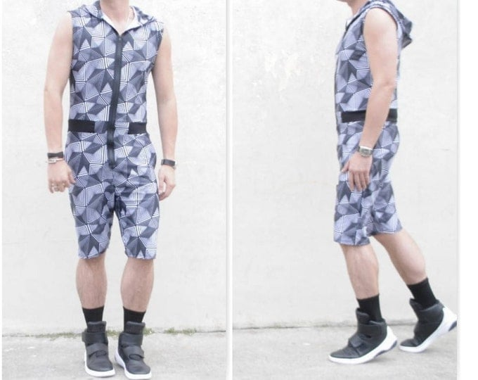 Geometric abstract Printed MENS Romper jumpsuit one piece sleeveless hoodie Summer Gym tank top muscle shorts romhim