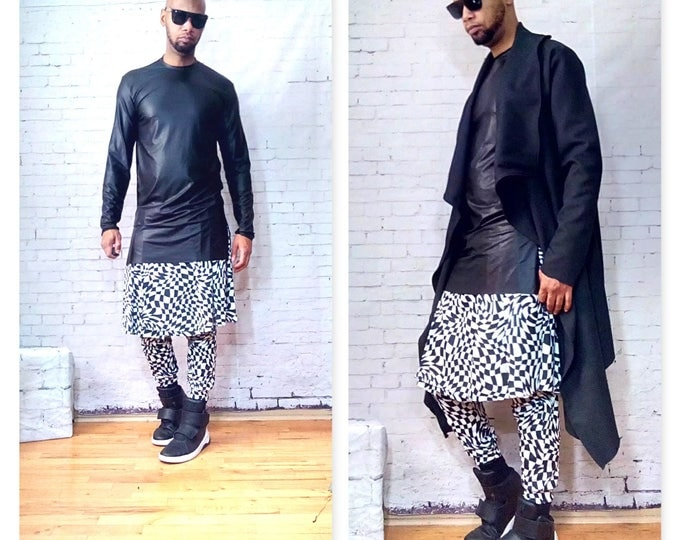 Long Sleeve Elongated Stretch Faux Leather Front and Knit Jersey Back Shirt Inspired By  Versace D&G Rick Owens