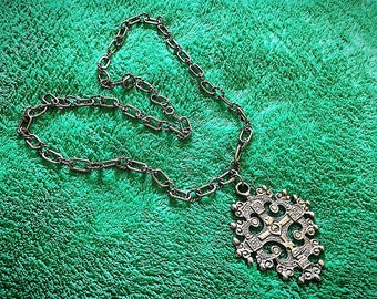 1970s Runway Jerusalem Cross Silver Pendant Necklace