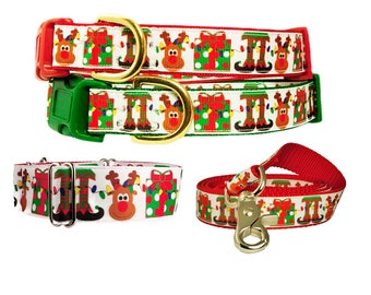 Reindeer Christmas Dog Collars in Red, Green or Black Optional Matching Leash