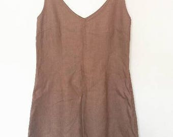 Linen Pinafore Vintage Women's Tan Overall Dress Retro Summer Dungarees Linen Brown Stripe Strap Knee Length Small Medium Ladies