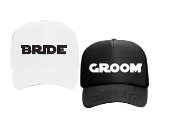 Bride and Groom Hats Star Wars White or Black Foam Trucker Mesh Back Hat Snapback