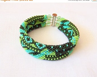 15% SALE Beadwork - 3 Strand Bead Crochet Rope Bracelet in green, olive green and turquoise - beaded jewelry - seed beads bracelet