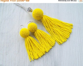 15% SALE Yellow tassel pendant and 3 inches tassel earrings - Set tassel necklace and tassle earrings - Modern dangle bright necklace - bead