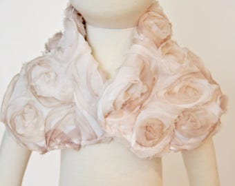 Ivory Ombre Chiffon Special Occasion (Weddings, Baptism, Holidays, 1st Birthdays) Bib, Shawl, Wrap, SCABIB for babies or toddlers