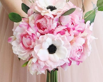 """Peony, Anemone & Eucalyptus Silk Bouquet in Two Tone Pink - 13.5"""" Tall"""