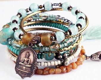 Bracelet Bangles, Artisan Bohemian Gypsy Aqua Sand Bangles, Ethnic beads, Vintage Czech Glass, Artisan Beads, Buddha, Silk Tassel