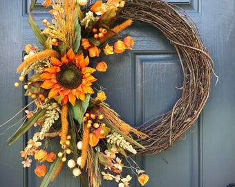 Fall Wreaths, Fall Door Wreath, Sunflower Wreaths, Fall Sunflowers, Fall Door Decor, Front Door Wreaths Fall, Orange Sunflowers, Fall Door