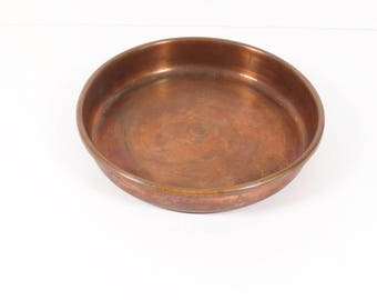 Solid Copper Italian Cake Pan, Vintage Italy Copper Cookware, Midcentury Solid Copper Pie Pan, Round Pan Copper Bakeware