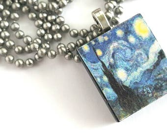 Starry Night Scrabble Tile Necklace with Stainless Steel Ball Chain - van Gogh - gift for artist