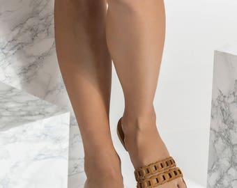 Toe ring sandals, Leather Slides, Tan Greek Sandals, Leather Slipons, Aura design NEW