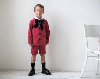 Boys velvet suit Toddler velvet blazer and shorts Wedding party Ring bearer suit Boys clothes Baptism outfit Family photo Halloveen party