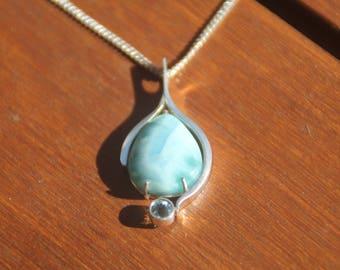 Handmade Larimar Blue Topaz Sterling Silver Pendant