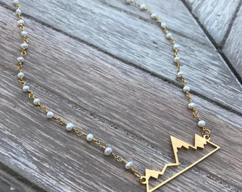 Wanderlust - Gold & Pearl Mountain Range Necklace