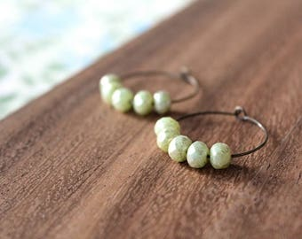honeydew green czech glass hoop earrings