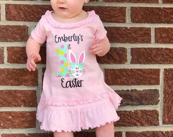 1st Easter Dress, Personalized 1st Easter, 1st Easter Outfit, Easter Dress, Baby's 1st Easter Dress, Personalized Easter Girl, First Easter