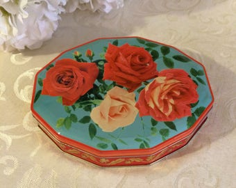 Stunning Vintage Tin Box Red Pink Roses, Vintage Tin Box, Mid Century Candy Tin, Blue, Cottage Chic, Floral Flower. Trinket Keepsake Box