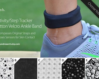 Black and White Print Activity/Step Tracker 100% Cotton Velcro Ankle Band – Encompasses Original Straps and Exposes Sensors for Skin Contact