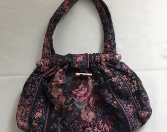 Large Tapestry shoulder bag Knitting Crochet Handbag Floral Tapestry tote purse  versatile tapestry bag 4 outside pockets padded interior