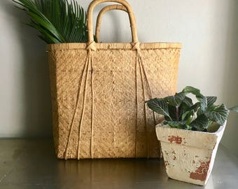 vintage handled woven basket tote bag boho