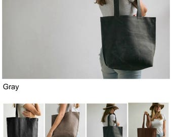 Leather Zipper Tote Bag, Laptop Tote, Shoulder Bag, Personalized Gift Bag, Gray Leather Bag, Womens Tote Bag, Bags And Purses, Handmade Bag