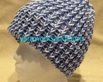 Blue And White Knit Hat, Winter Hat, Loom Knit Hat, Blue And White Beanie, Knit Cap, Unisex Hat, Team Spirit, Team Colors, Gifts Under 20