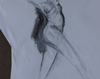 Abstract unfinished figure drawing gesture life drawing surreal art nouveau