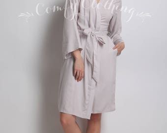 Grey Bridesmaid Robe, Monogram Robe, Plain Bridesmaid Robe, Blue Bridesmaid Robe, Gray Robe, Nursing Gown, Labor And Delivery Dress