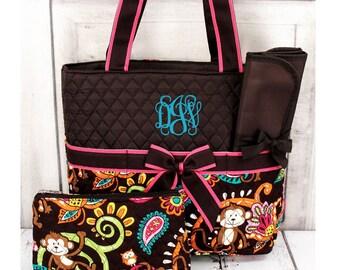 3pc Personalized Diaper Bag Set Monogram Baby Tote Changing Pad Baby Bag