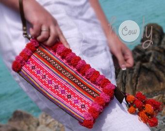 Pink Tribal Wristlet, Tribal Purse, Tribal Bag, Hmong Bag, Hippie Bag, Boho Bag, Gypsy Bag, Pink Pom Pom Bag, Leather Purse, Pink Boho Purse