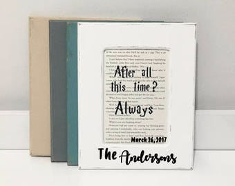 Personalization Available - Harry Potter Wedding Sign, Harry Potter Wedding, Harry Potter Book Page, Harry Potter Gift, Picture Frame