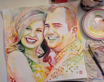 COUPLE PORTRAIT, custom wedding gift from friends, gift for the couple, best wedding gift custom painting from photo, best engagement gift
