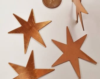 6 Vintage Star Flat 40x39mm. Copper Coated Steel Stamping Finding N52