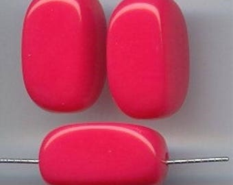 18 Vintage Hot Pink Acrylic 22x15mm. Smooth Rectangle Bead 5217