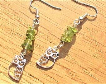 Owl Earrings, Peridot Jewellery,  August Birthstone, Bird Gift, Sterling Silver Drop Earrings, Green Gemstones, Owl Jewellery Gift