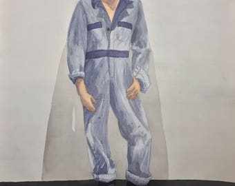 Man Standing in Coveralls Watercolor Painting, One of a Kind