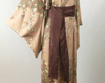 1950s Silk Kimono Made in Japan Vintage All Silk Kimono Showa Era Intricate Floral Butterfly Design Painted Silk Long Sleeves Unisex OSFA