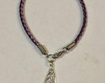 Tear Drop Swirl Braided Leather Bracelet