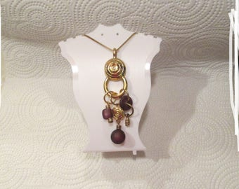 LARGE Vintage c.1980 Artisan OOAK Purple Frosted GLASS & Gold Charms Long Gold Target Pendant Necklace - Rare Unique Gift - One of A  Kind
