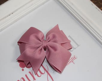 "Mauve Rose Large 4"" Pinwheel Bow"