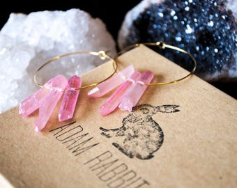 Pink Quartz Hoop Earrings, Quartz Point Earrings
