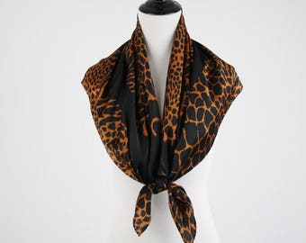1980s Bill Blass Leopard Print Large Square Silk Scarf for Baar and Beards