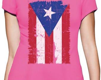 Vintage Distressed Puerto Rico Flag Women T-Shirt