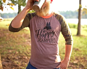 Happy Camper Shirt - Happy Camper - Camping Shirt - Mountain Shirt - Hiking Shirt - Mountain Shirts - Camping Shirts - Gift for Him
