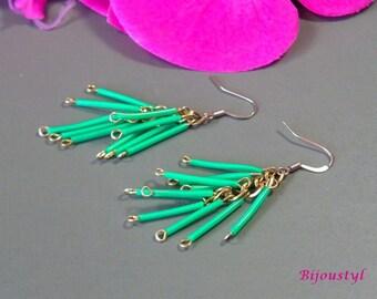 """Fancy """"Scoubidou"""" green - medium Silver earrings"""