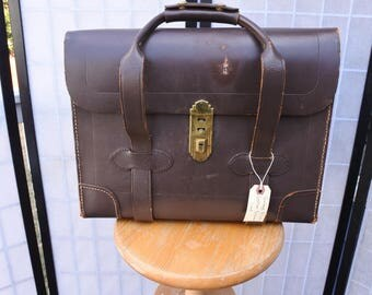 Pilots Bag, Document Case, Military Leather Valise