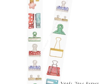 """NEW """"Clips"""" Wide Washi Tape - 30mm x 8m - Planners Decoration Collage Card-making Paper Crafting Supply"""