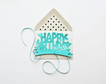 Teal Happy Birthday Glitter Crown Card